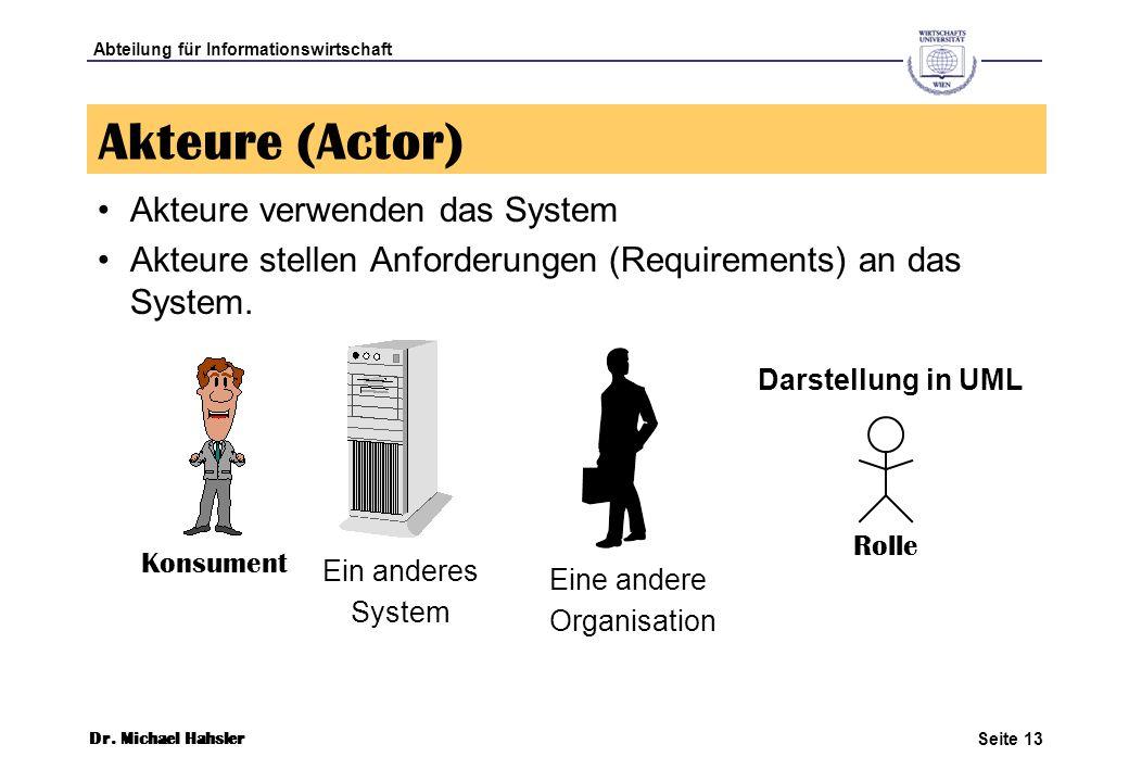 Akteure (Actor) Akteure verwenden das System