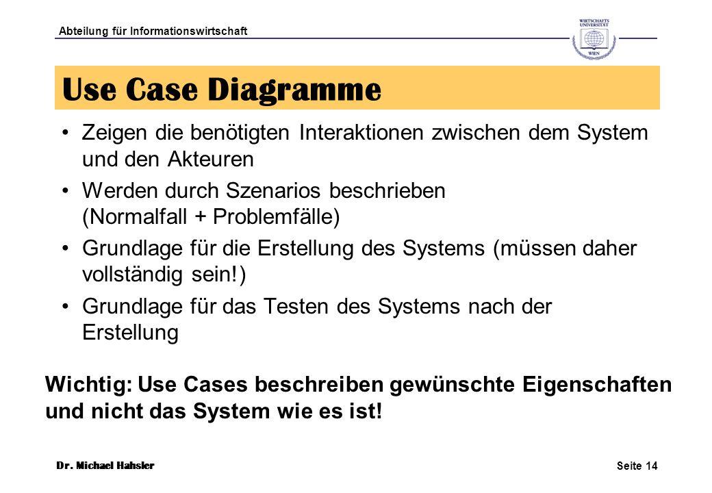 Use Case Diagramme Zeigen die benötigten Interaktionen zwischen dem System und den Akteuren.