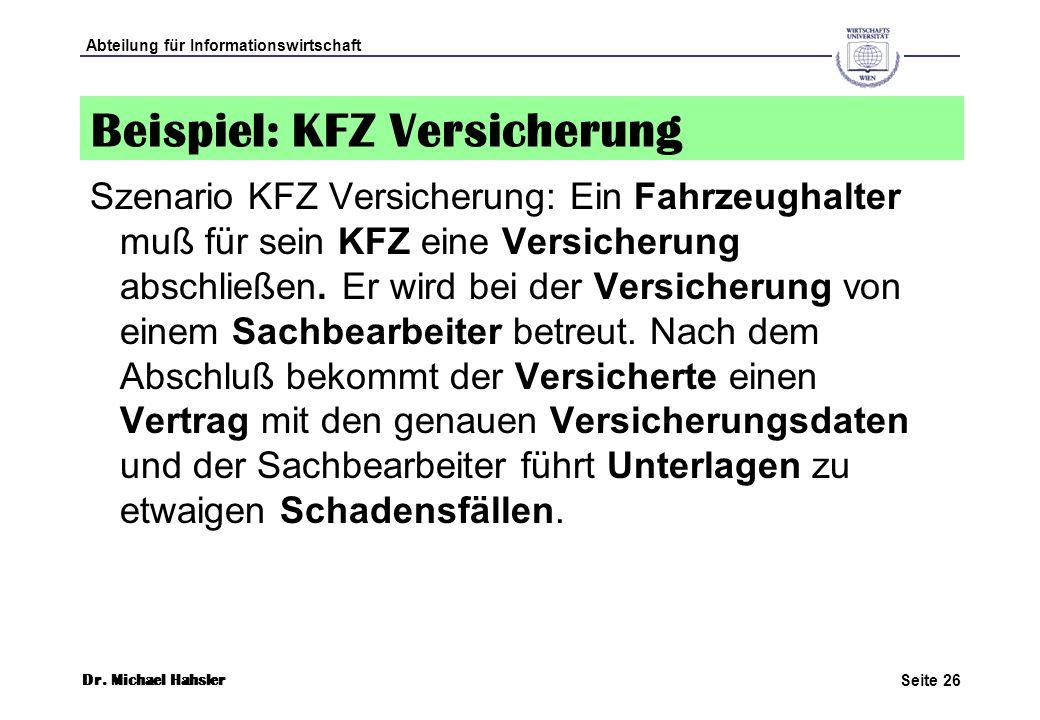 Beispiel: KFZ Versicherung