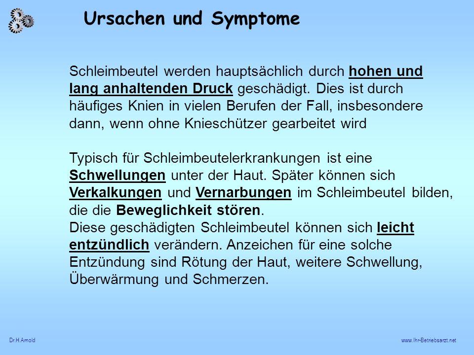 Ursachen und Symptome Schleimbeutel werden hauptsächlich durch hohen und.
