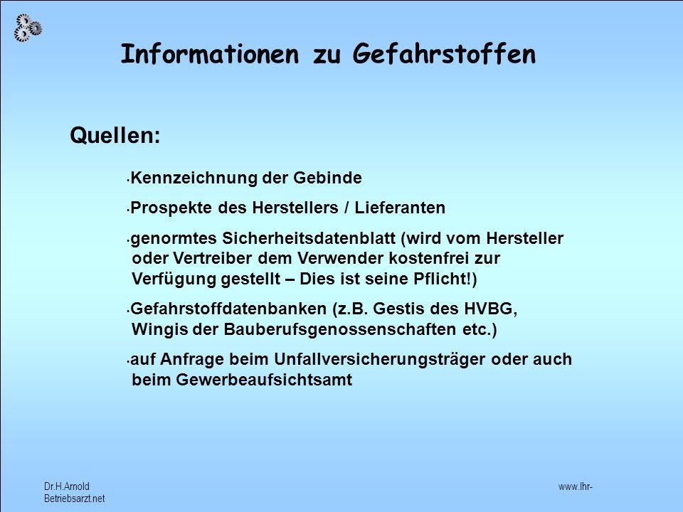 Informationen zu Gefahrstoffen