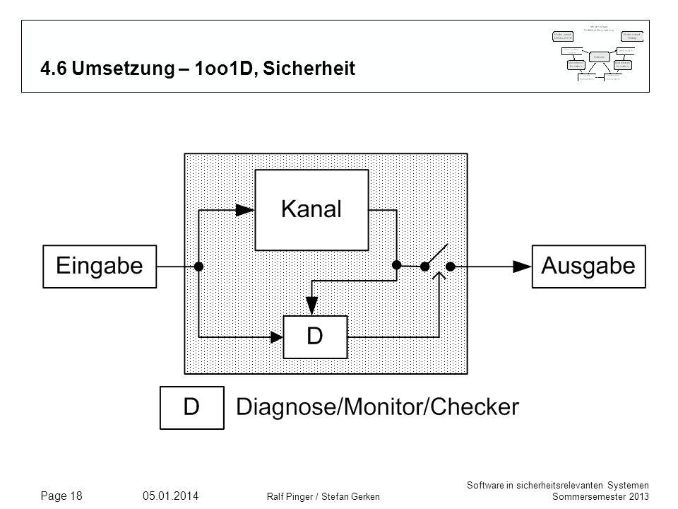 4.6 Umsetzung – 1oo1D, Sicherheit