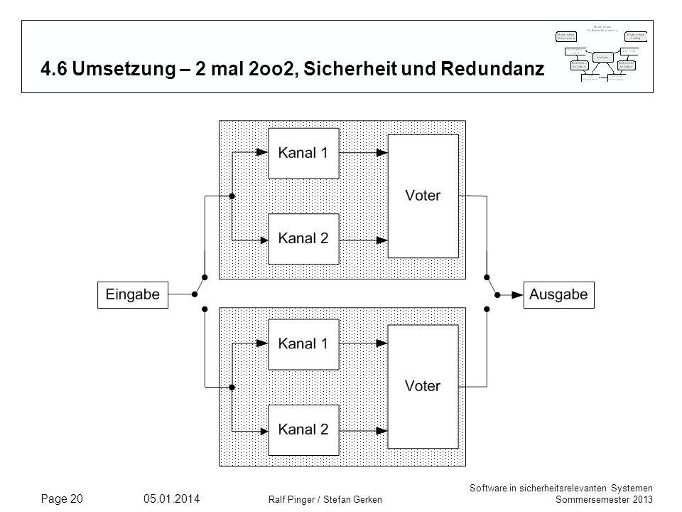 4.6 Umsetzung – 2 mal 2oo2, Sicherheit und Redundanz