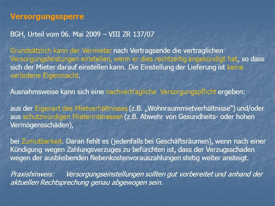 Versorgungssperre BGH, Urteil vom 06. Mai 2009 – VIII ZR 137/07