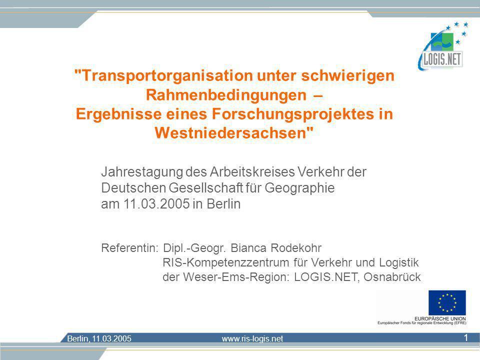 Transportorganisation unter schwierigen Rahmenbedingungen – Ergebnisse eines Forschungsprojektes in Westniedersachsen