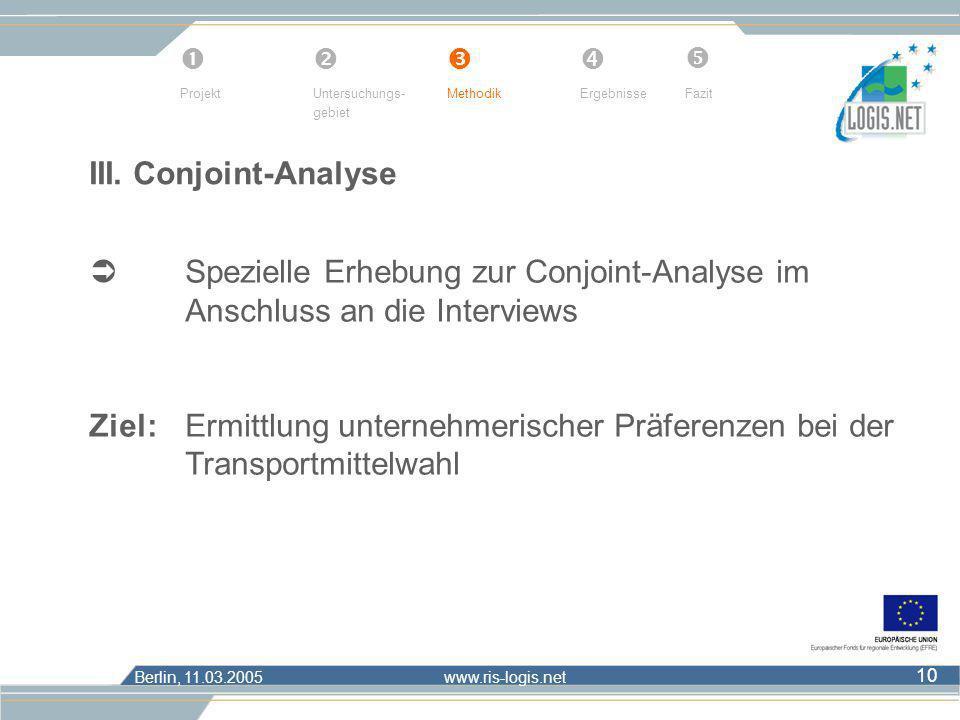      Projekt. Untersuchungs- gebiet. Methodik. Ergebnisse. Fazit. III. Conjoint-Analyse.