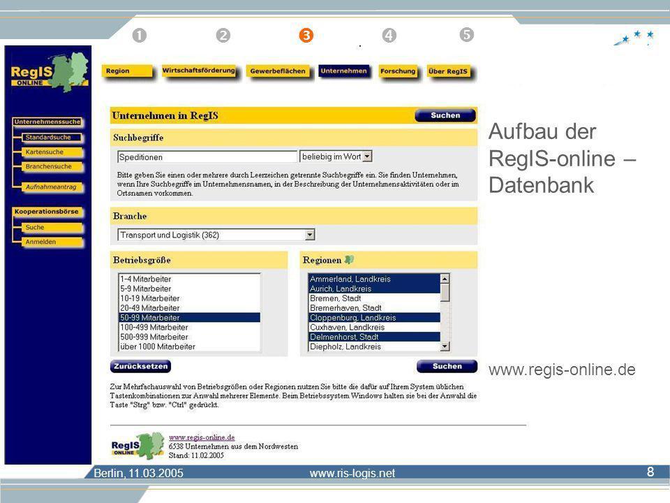 Aufbau der RegIS-online – Datenbank
