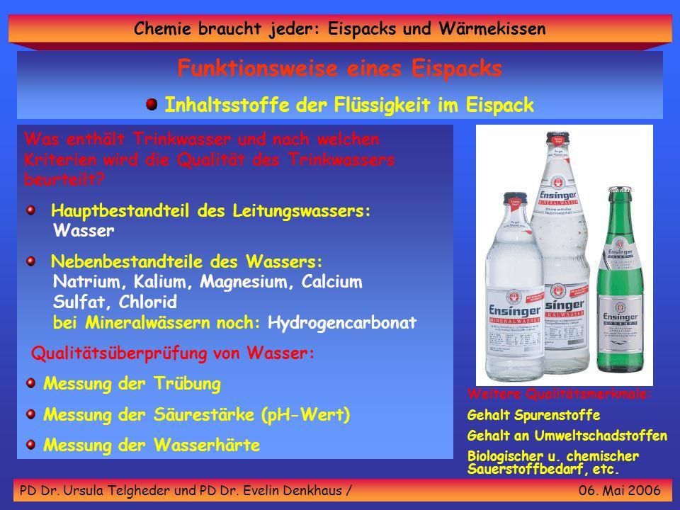 Funktionsweise eines Eispacks Inhaltsstoffe der Flüssigkeit im Eispack