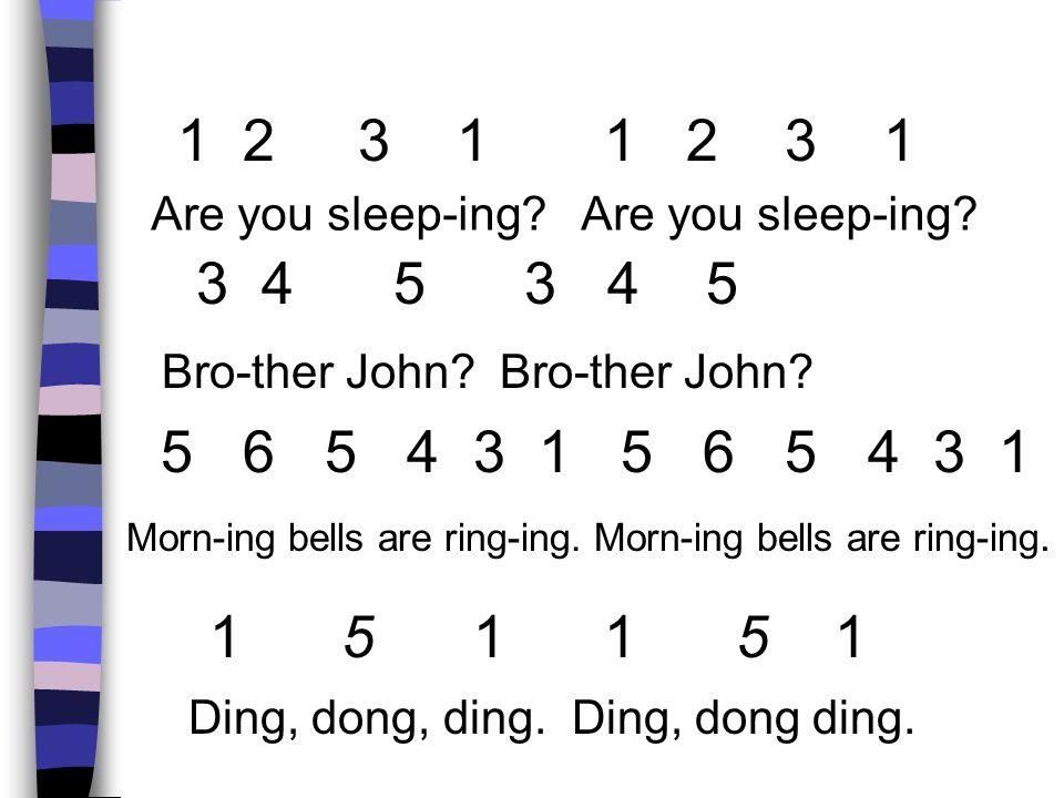 1 2 3 1 1 2 3 1 Are you sleep-ing Are you sleep-ing 3 4 5 3 4 5.