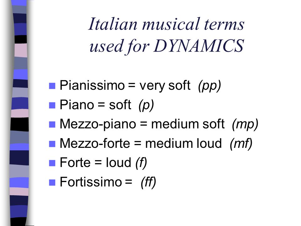Italian musical terms used for DYNAMICS