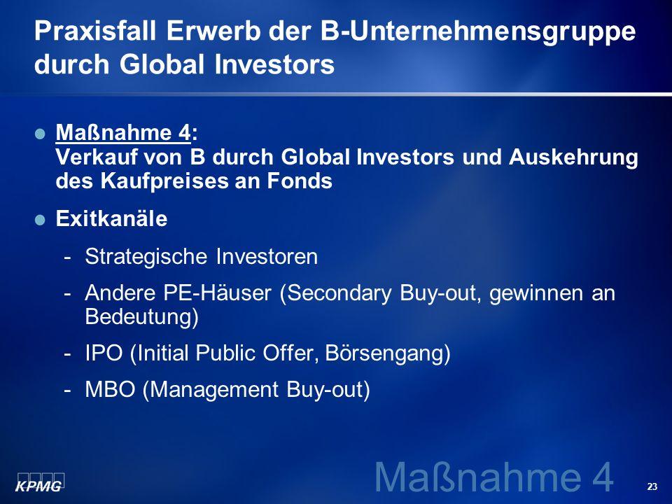 Praxisfall Erwerb der B-Unternehmensgruppe durch Global Investors