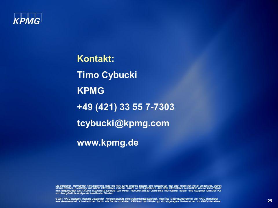 Kontakt: Timo Cybucki KPMG +49 (421) 33 55 7-7303 tcybucki@kpmg.com