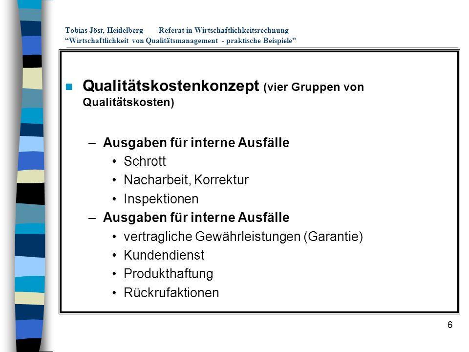 Qualitätskostenkonzept (vier Gruppen von Qualitätskosten)