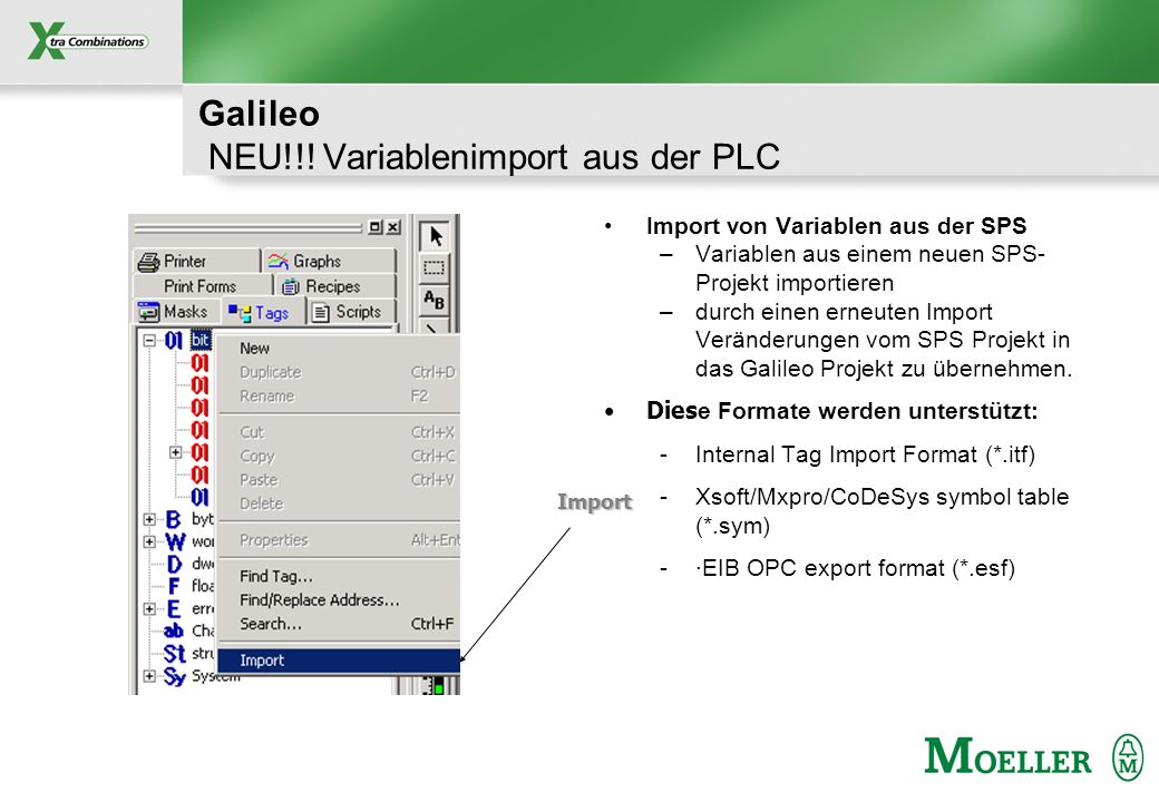Galileo NEU!!! Variablenimport aus der PLC