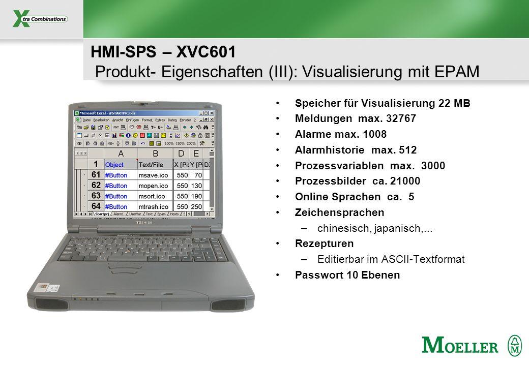 HMI-SPS – XVC601 Produkt- Eigenschaften (III): Visualisierung mit EPAM