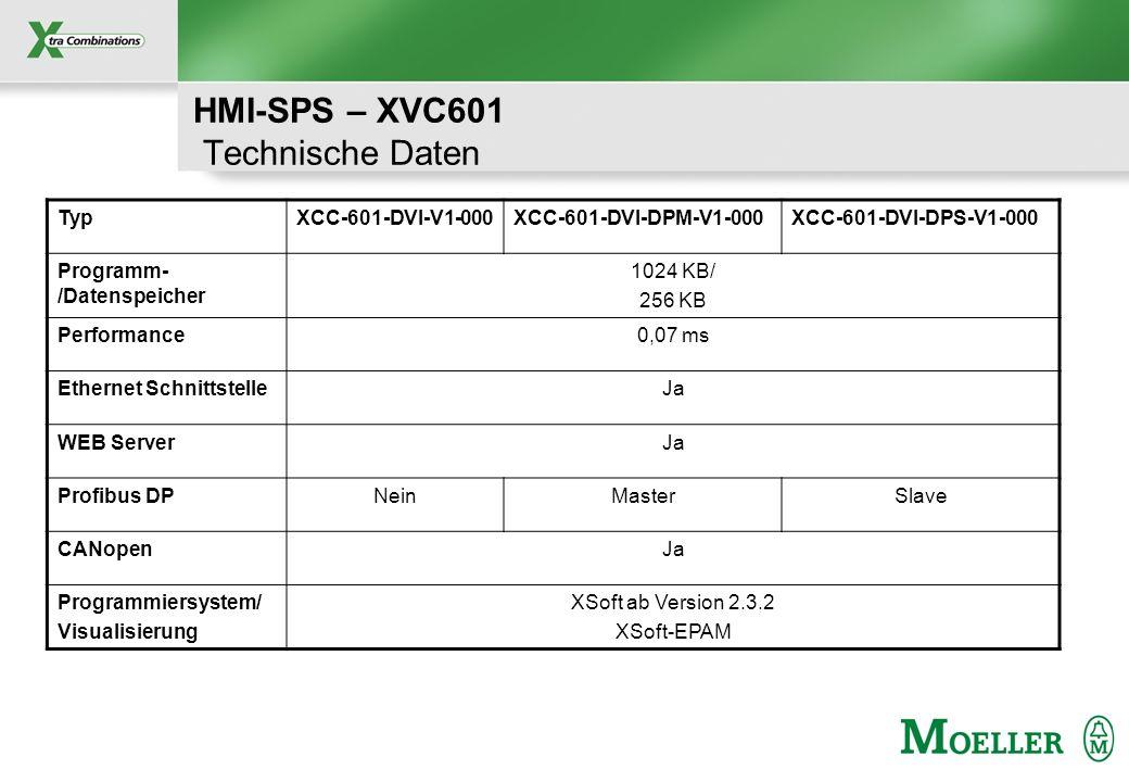 HMI-SPS – XVC601 Technische Daten