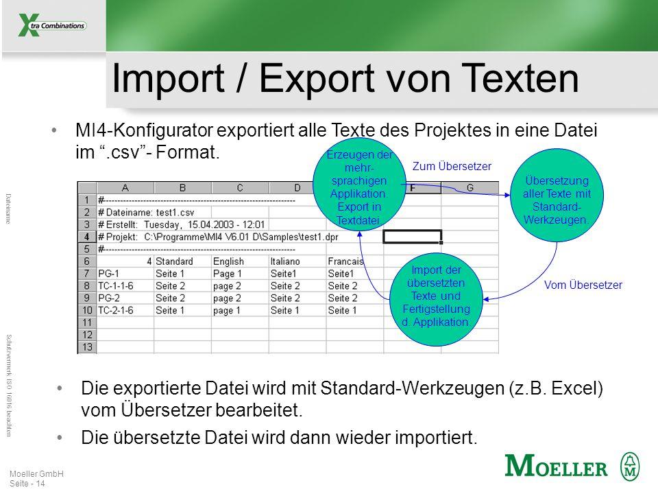 Import / Export von Texten