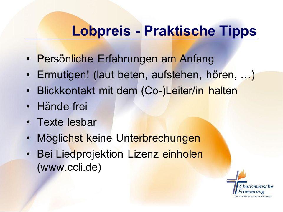 Lobpreis - Praktische Tipps