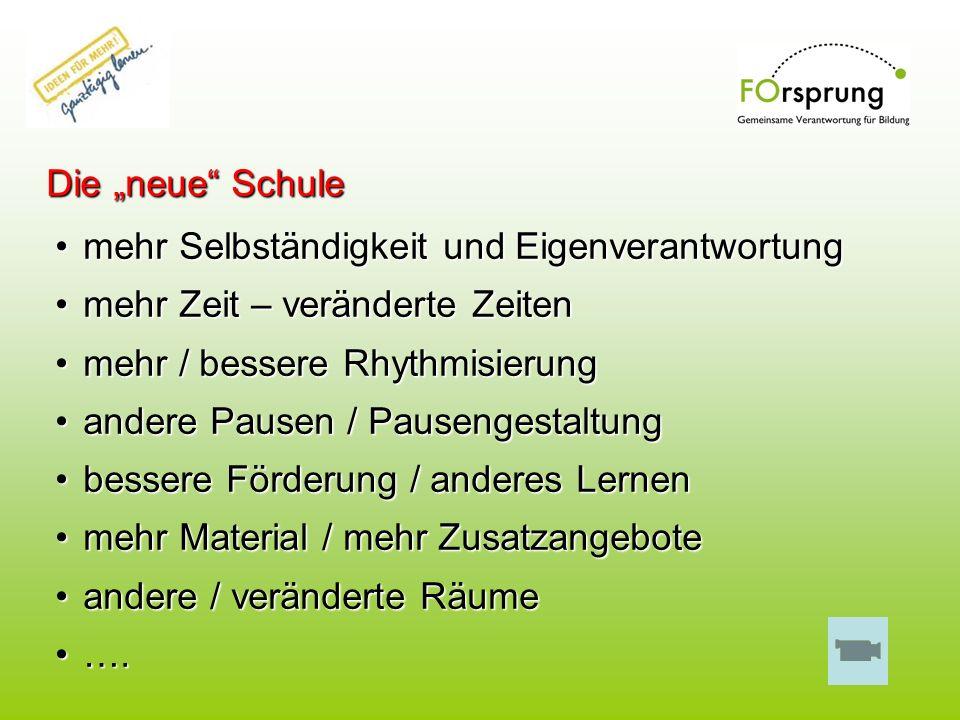 """Die """"neue Schule mehr Selbständigkeit und Eigenverantwortung. mehr Zeit – veränderte Zeiten. mehr / bessere Rhythmisierung."""