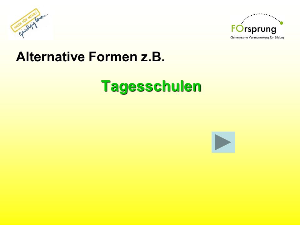 Alternative Formen z.B. Tagesschulen