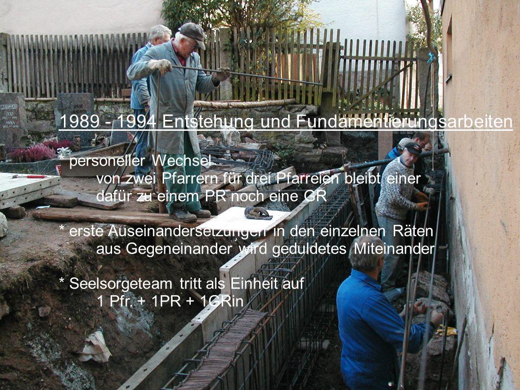 1989 - 1994 Entstehung und Fundamentierungsarbeiten