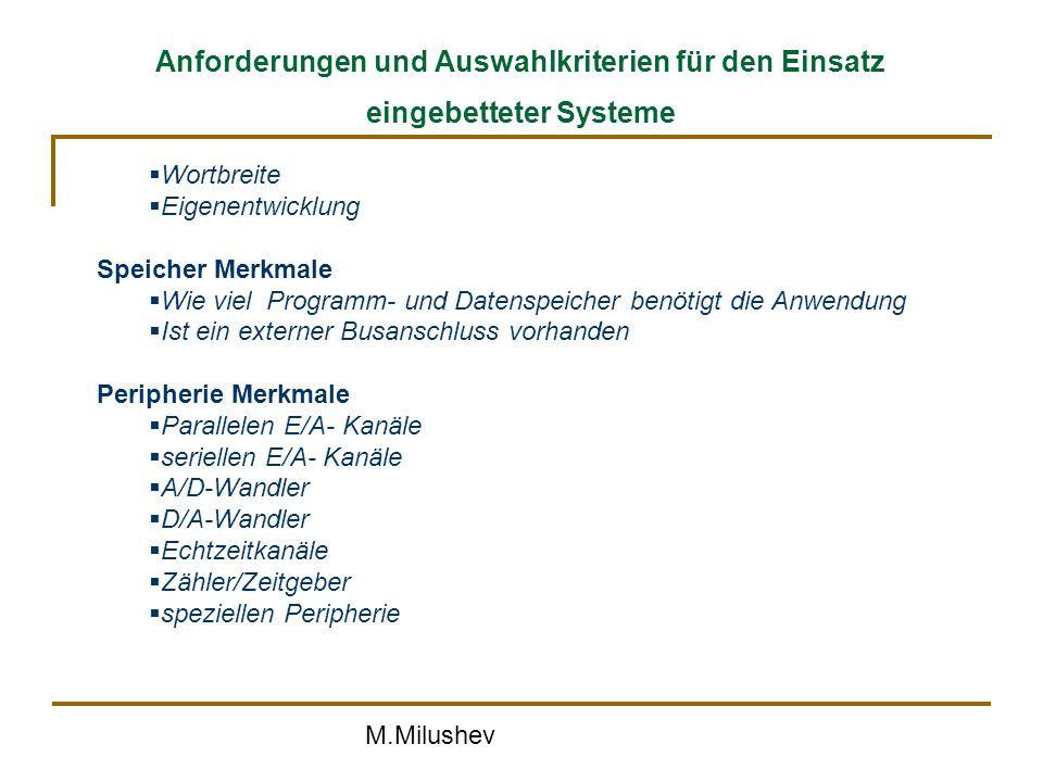 Anforderungen und Auswahlkriterien für den Einsatz eingebetteter Systeme