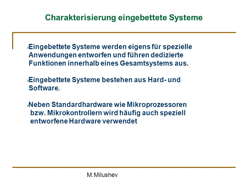 Charakterisierung eingebettete Systeme
