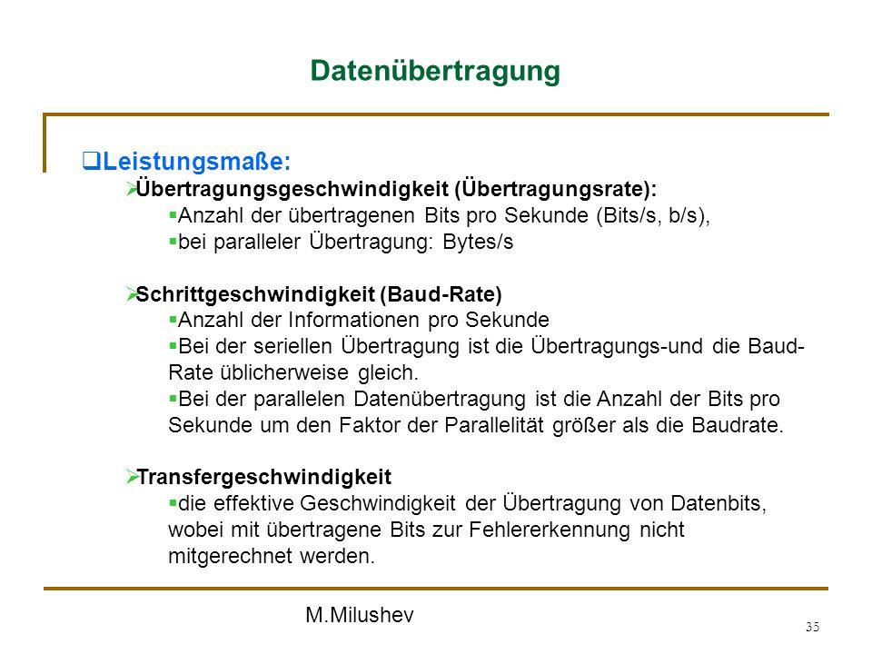 Datenübertragung Leistungsmaße: