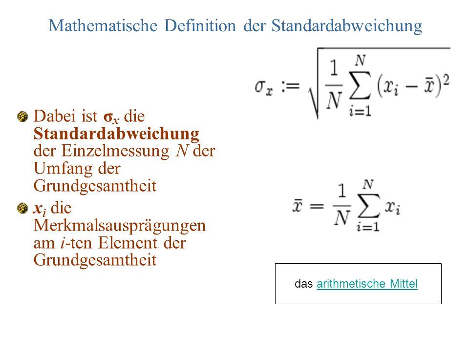Mathematische Definition der Standardabweichung
