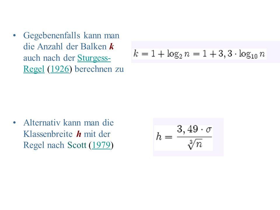 Gegebenenfalls kann man die Anzahl der Balken k auch nach der Sturgess-Regel (1926) berechnen zu