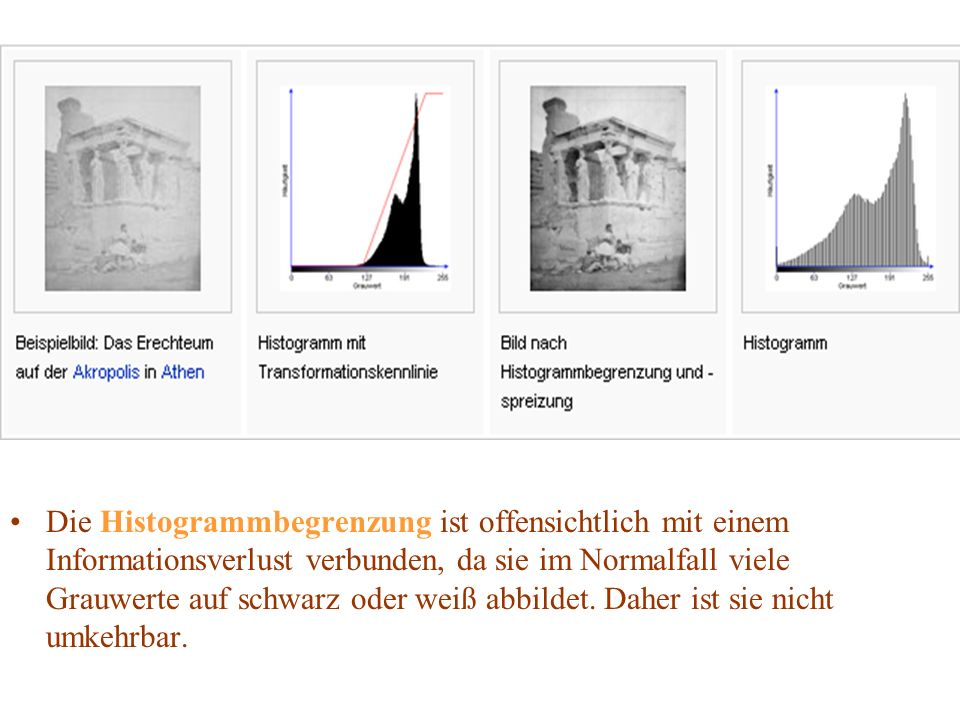 Die Histogrammbegrenzung ist offensichtlich mit einem Informationsverlust verbunden, da sie im Normalfall viele Grauwerte auf schwarz oder weiß abbildet.
