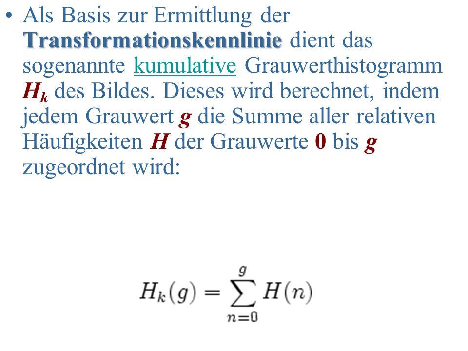 Als Basis zur Ermittlung der Transformationskennlinie dient das sogenannte kumulative Grauwerthistogramm Hk des Bildes.