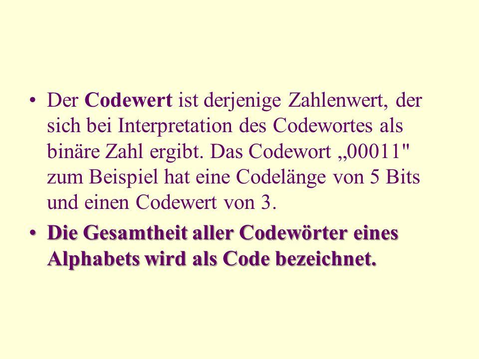 """Der Codewert ist derjenige Zahlenwert, der sich bei Interpretation des Codewortes als binäre Zahl ergibt. Das Codewort """"00011 zum Beispiel hat eine Codelänge von 5 Bits und einen Codewert von 3."""