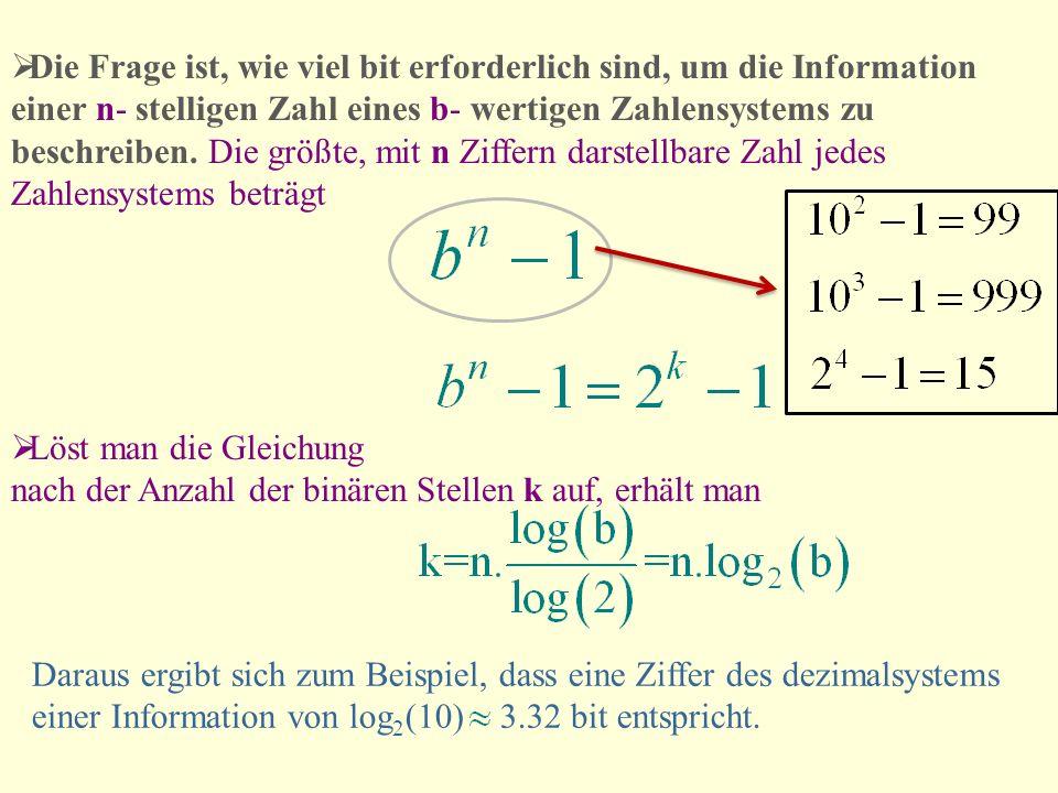 Die Frage ist, wie viel bit erforderlich sind, um die Information einer n- stelligen Zahl eines b- wertigen Zahlensystems zu beschreiben. Die größte, mit n Ziffern darstellbare Zahl jedes Zahlensystems beträgt