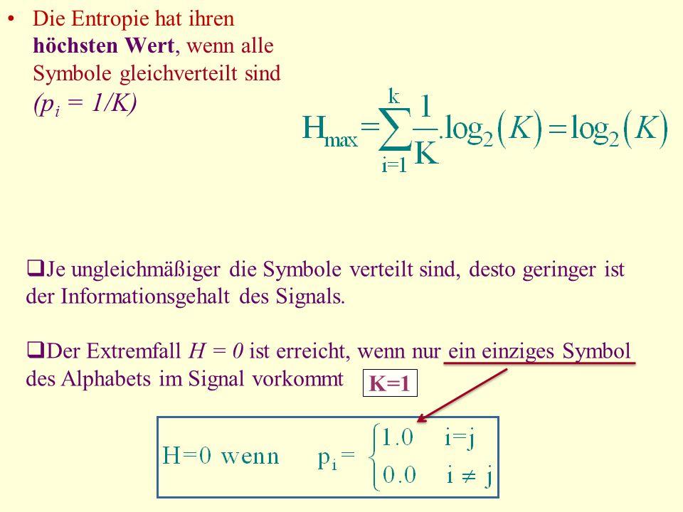 Die Entropie hat ihren höchsten Wert, wenn alle Symbole gleichverteilt sind (pi = 1/K)