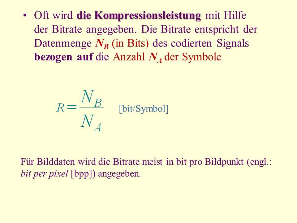 Oft wird die Kompressionsleistung mit Hilfe der Bitrate angegeben