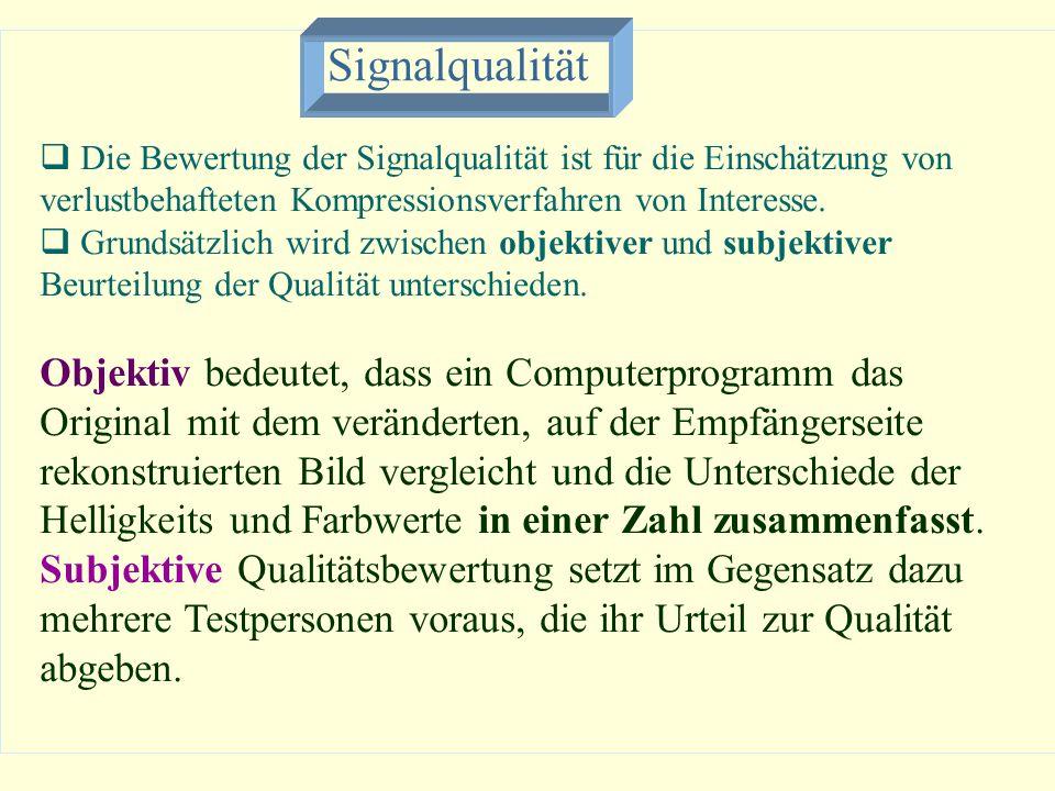 Signalqualität Die Bewertung der Signalqualität ist für die Einschätzung von verlustbehafteten Kompressionsverfahren von Interesse.