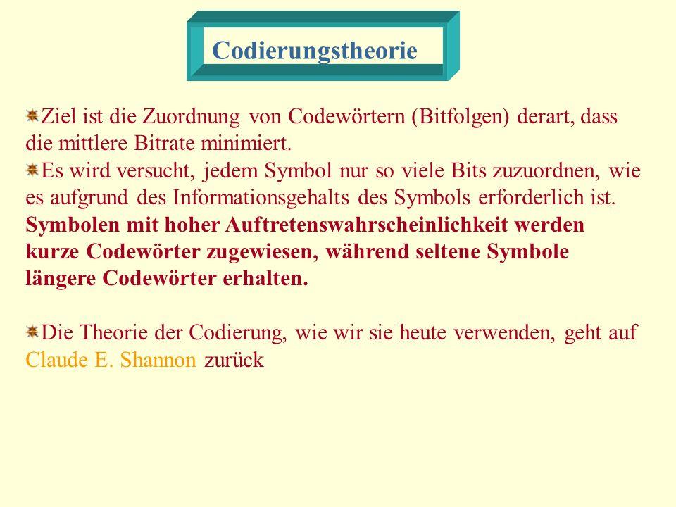 Codierungstheorie Ziel ist die Zuordnung von Codewörtern (Bitfolgen) derart, dass die mittlere Bitrate minimiert.