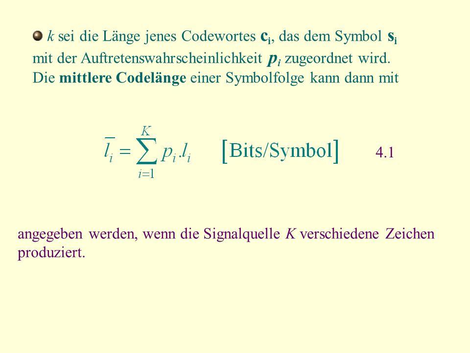k sei die Länge jenes Codewortes ci, das dem Symbol si mit der Auftretenswahrscheinlichkeit pi zugeordnet wird. Die mittlere Codelänge einer Symbolfolge kann dann mit
