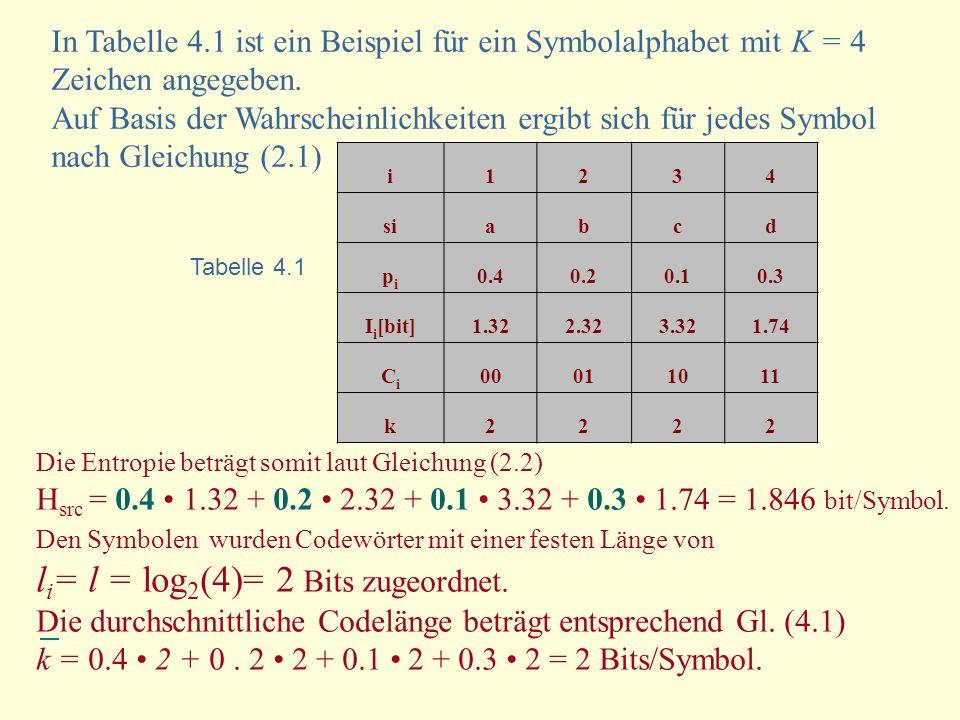 li= l = log2(4)= 2 Bits zugeordnet.