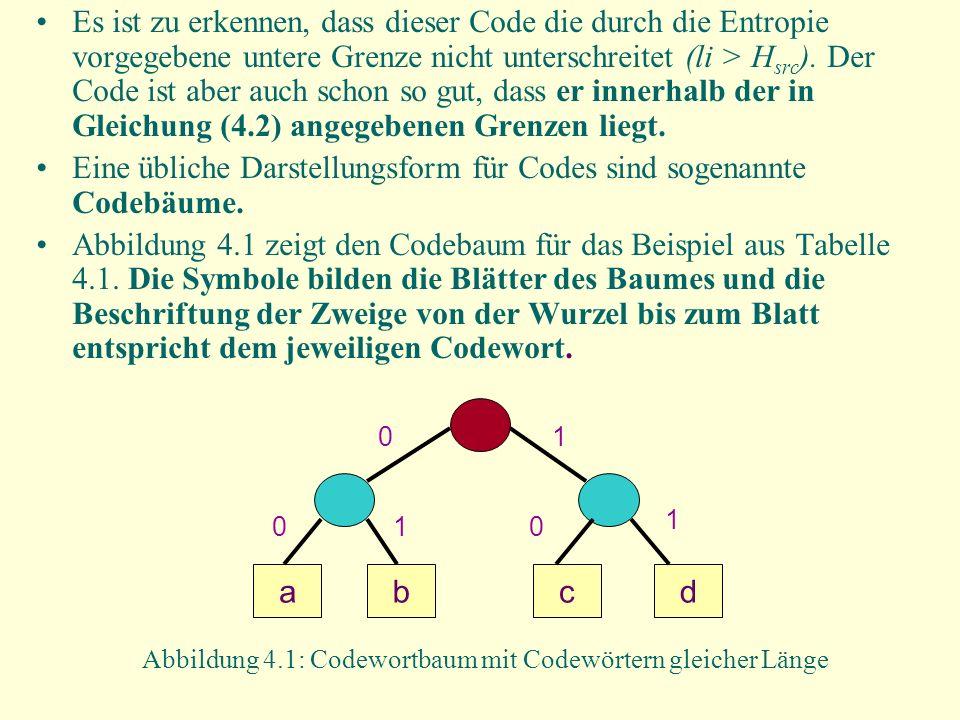 Eine übliche Darstellungsform für Codes sind sogenannte Codebäume.