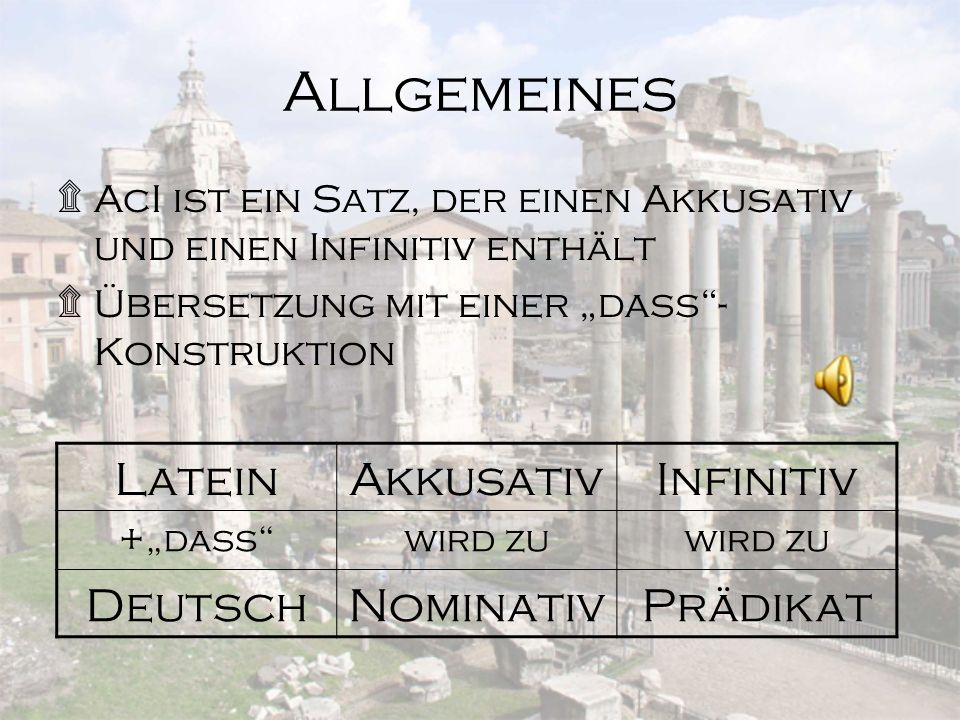 Allgemeines Latein Akkusativ Infinitiv Deutsch Nominativ Prädikat