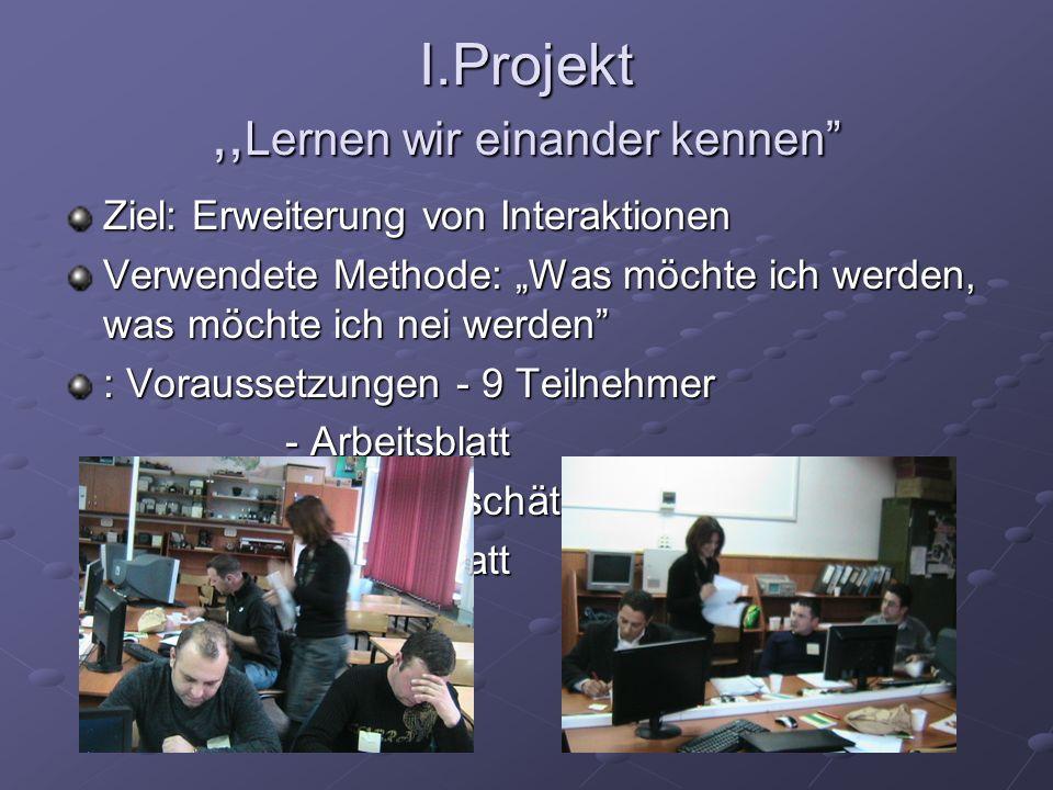 I.Projekt ,,Lernen wir einander kennen