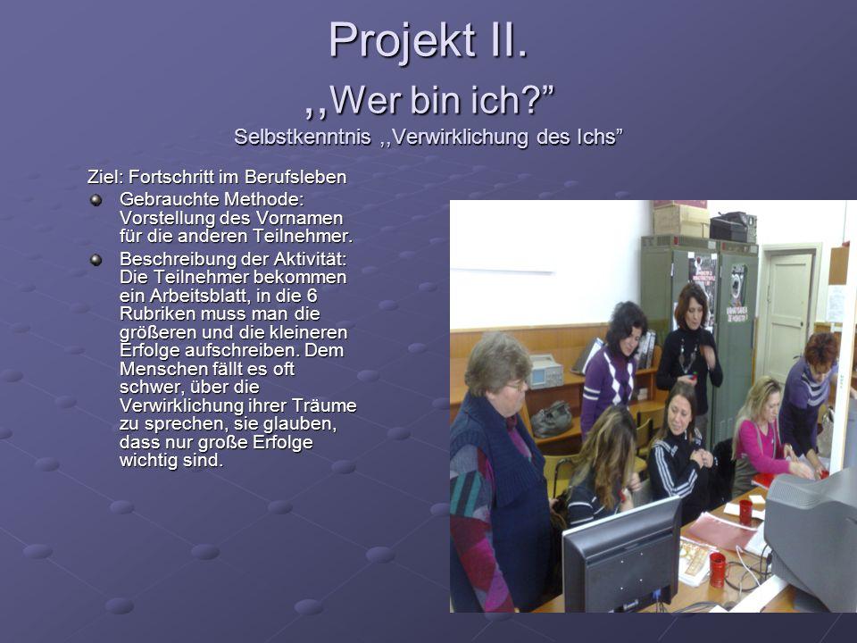 Projekt II. ,,Wer bin ich Selbstkenntnis ,,Verwirklichung des Ichs