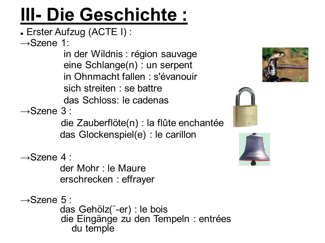 III- Die Geschichte : Erster Aufzug (ACTE I) : →Szene 1: