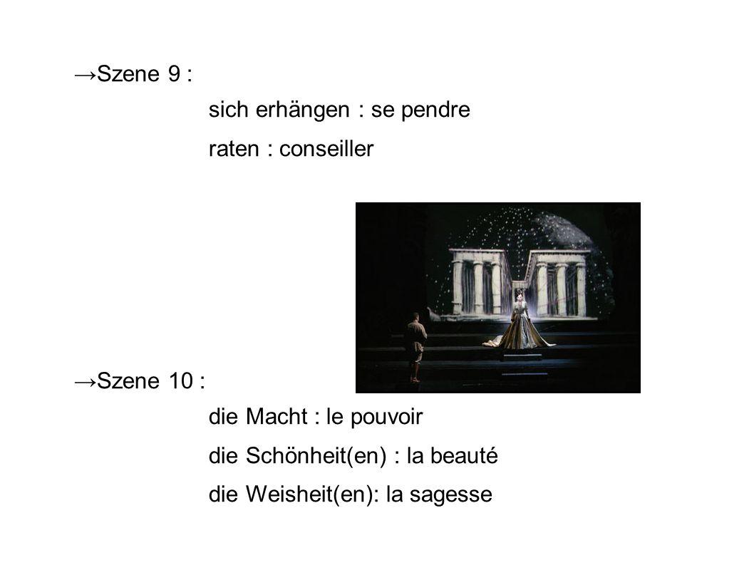 →Szene 9 : sich erhängen : se pendre. raten : conseiller. →Szene 10 : die Macht : le pouvoir. die Schönheit(en) : la beauté.