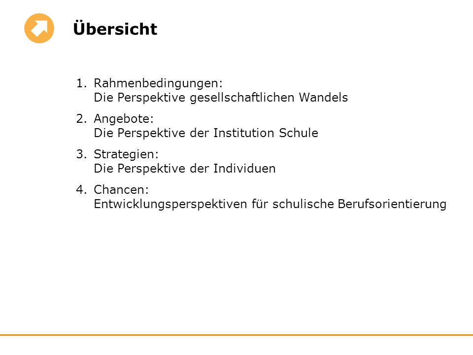 Übersicht Rahmenbedingungen: Die Perspektive gesellschaftlichen Wandels. Angebote: Die Perspektive der Institution Schule.