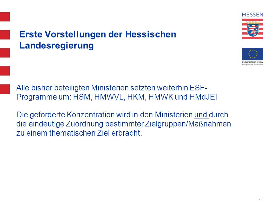 Erste Vorstellungen der Hessischen Landesregierung