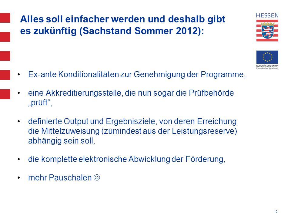 Alles soll einfacher werden und deshalb gibt es zukünftig (Sachstand Sommer 2012):