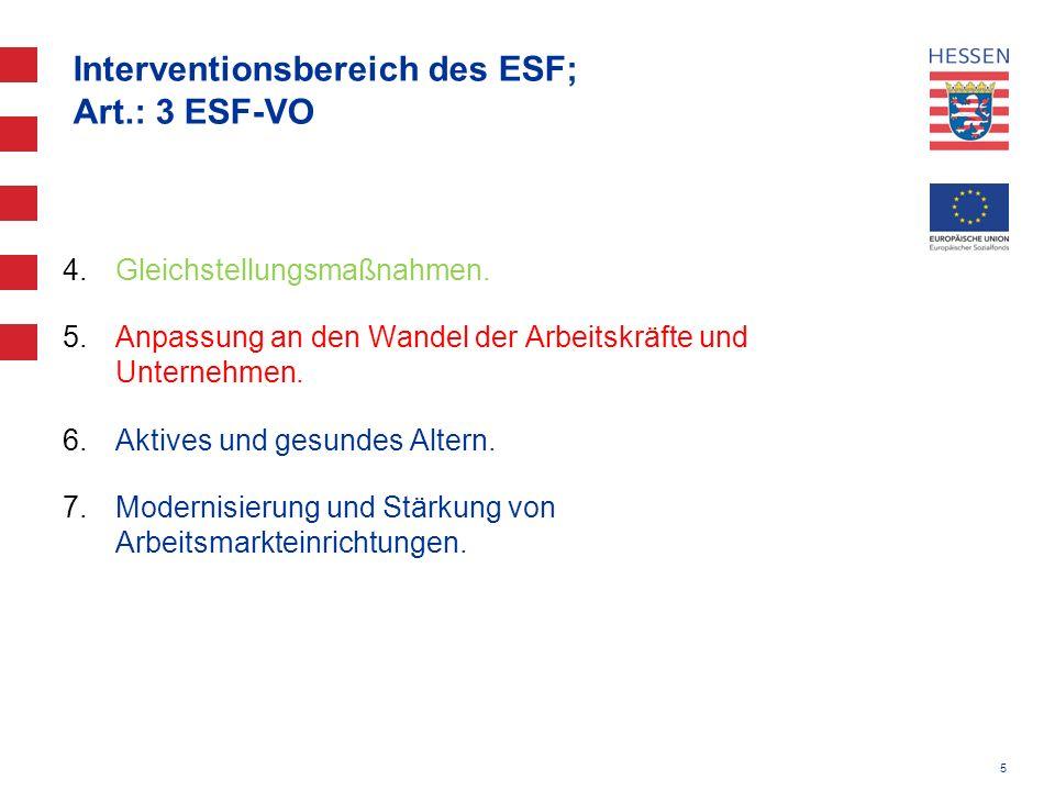 Interventionsbereich des ESF; Art.: 3 ESF-VO